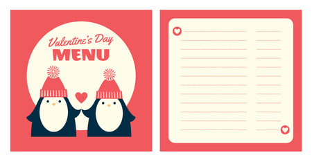 Vector template for Valentine's day menu. Retro styled illustration of a couple of penguins in love. Two pages, square format. Place for text. Coral pink and ivory colors.