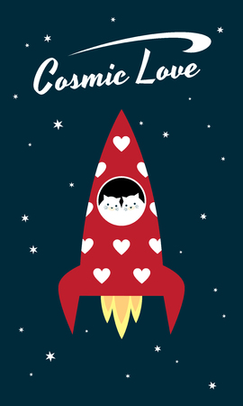 Vector retro styled illustration. A couple of white cats flying in a red space rocket. Text Cosmic Love Ilustrace