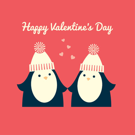 Valentine's day greeting card. A couple of penguins in love are standing and looking to each other. Coral pink background. Square format. Vector illustration.