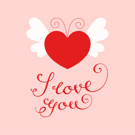 Vector illustration of a red heart with white butterfly wings and antennae. Calligraphic text I love you Ilustrace