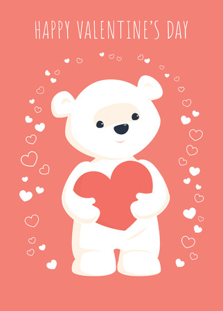 Valentines day greeting card. Vector illustration of a cute white teddy bear standing and holding a heart in his paws. Coral pink background. Vertical format.