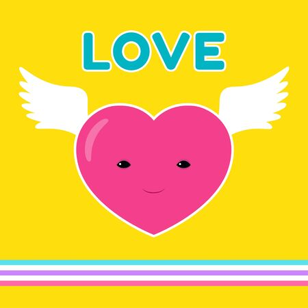 Vector cartoon illustration of a flying heart character with bird wings. Square banner. Yellow background. Retro style, 80s. Ilustrace