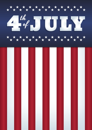 Vector design. Text '4th of July'. Abstract background. USA flag style. 50 stars, 13 stripes. Vertical format A4. Blue, red and white colors. Ilustrace