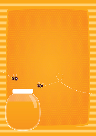Yellow honeycomb pattern, glass jar full of honey and two bees flying over it. Ilustrace