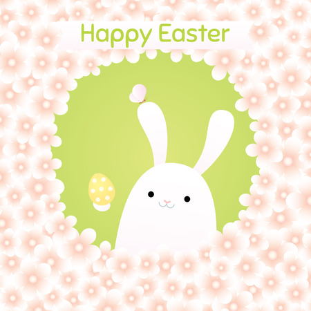 Easter greeting card. Vector illustration of a white bunny smiling and holding an egg. A frame made of pink flowers. Square format, pastel colors.