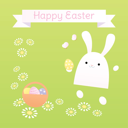 Easter greeting card. A white bunny jumping and holding an egg. Light green background with flowers. Square format, pastel colors. Ilustrace