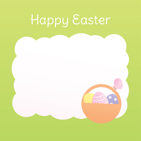 Vector Easter background with place for text on white. Green border. Basket of eggs and a butterfly sitting on the handle. Square format, pastel color.