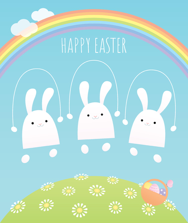 Happy Easter greeting card. Vector illustration. Three white baby bunnies jumping rope on a hill covered with flowers under the rainbow. A basket of eggs is on the grass. Pastel colors.