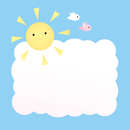 Vector square background with sky, the sun, two birds and a big cloud. Pastel colors.