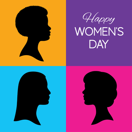 Vector illustration. Three black silhouettes of human female head in profile. Happy women's day greeting card. African, Asian and Caucasian race. Colorful background. Isolated. Square format. Ilustrace