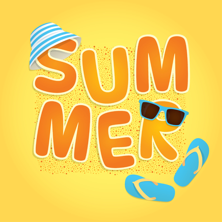 Vector colorful illustration. Word Summer on a yellow background. The letters are laying on sand and sunbathing. Bucket hat, sunglasses, flops. Upper view. Square format.
