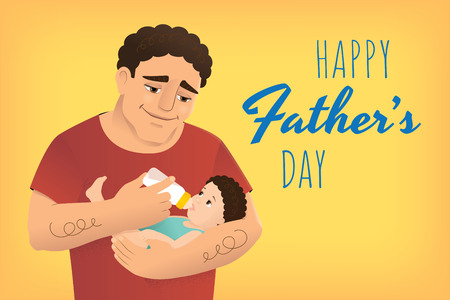 Horizontal web banner. Vector illustration of a young man bottle feeding his child. Greeting text Happy Fathers Day. Yellow background. The whole dad is inside the clipping mask.