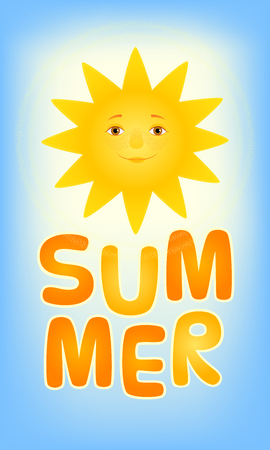Vector cartoon illustration of the shining smiling sun in the blue sky. Word Summer written in big letters. Vertical web-banner format.