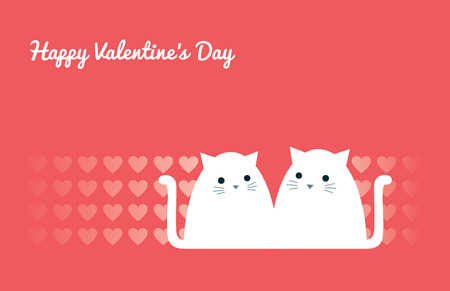 Happy Valentine's Day greeting card. Cartoon vector illustration. A cute couple of white cats sitting together. Heart pattern. Coral pink background. Horizontal format. Ilustrace