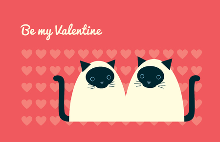 Greeting card design. Text Be my Valentine. Vector illustration of a cute cartoon couple of siamese cats sitting together. Heart pattern. Coral pink background. Horizontal format.