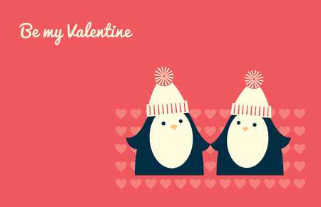 Greeting card design. A couple of penguins standing and looking to each other. Text