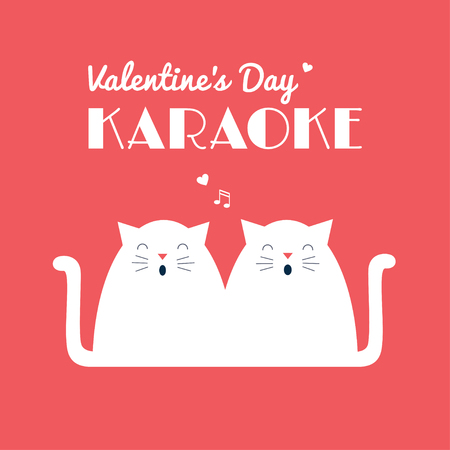 Valentine's Day Karaoke party invitation leaflet. A couple of white cats singing. Vector retro styled illustration. Coral pink background. Square format. Ilustrace