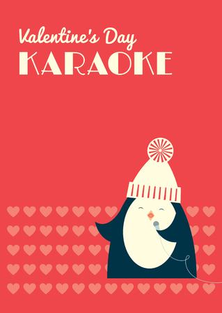 Retro styled Valentines Day Karaoke party invitation leaflet. Cute cartoon penguin singing into a microphone. Red background. Vector illustration. Vertical format. Illustration