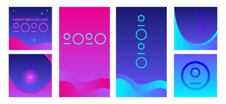 Set of six abstract vector backgrounds and web banners. Bright gradient waves and stylized number 2020. Vaporwave style. Text Happy Decade. Square and smartphone screen formats.