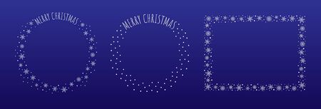 Set of three Christmas decorative borders made of snowflakes and snow dots. Greeting text Merry Christmas written in thin block letters. Two round, one rectangular frame. White on blue background.