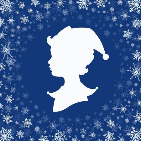 Vector illustration. White silhouette of an elf. Head in profile. The Santa's helper has wavy hair and a cap with a jingle bell. Blue background, frame made of snowflakes. Square format.