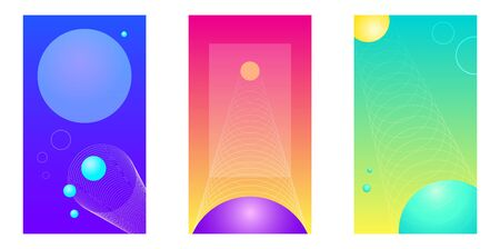 Set of three vector smartphone backgrounds. Modern screens for mobile app, science fiction retro future style. Minimal design. The shapes are whole under the clipping mask.