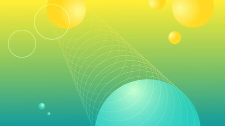 Vector abstract background. Science fiction style. Spheres and rings, yellow and blue tones. Long horizontal format. The shapes are whole under the clipping mask