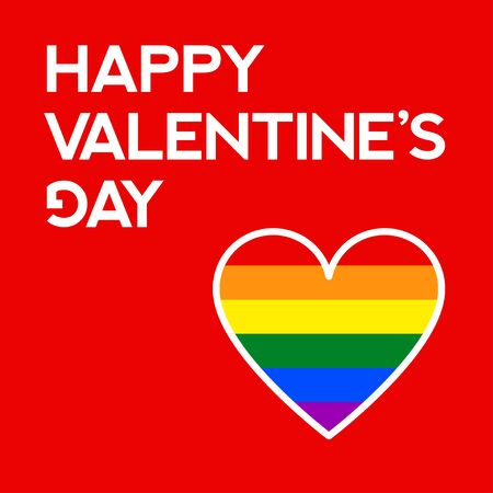 Vector illustration. Colorful greeting card. Text Happy Valentine's Day