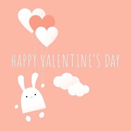 Vector kawaii illustration. Text 'Happy Valentine's day'. A white bunny is flying with heart shaped balloons. Coral pink and white pastel colors. Square format.
