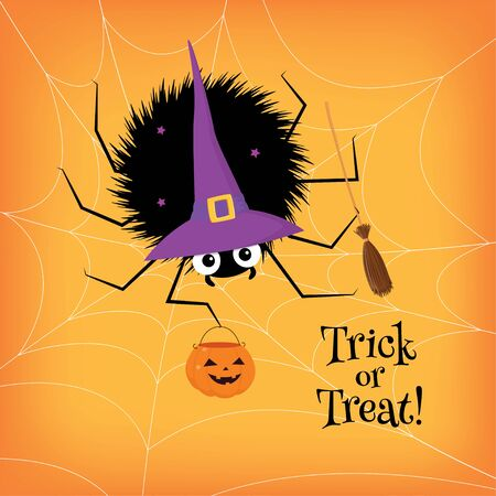 Vector Halloween illustration. Cute baby spider in a witch costume sitting on a web, holding a broomstick and an empty candy basket. Text Trick or Treat. Ilustrace