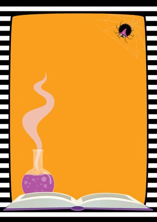 Vector Halloween background, striped border. Illustration of a cute fluffy spider in a purple witch hat sitting on its web, a flask with lilac potion, an open book. Vertical A4 format, place for text.