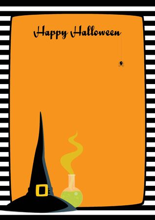 Vector illustration. Orange background, black and white striped frame, witch hat, flask with green potion, dangling spider. Vertical A4 format, greeting text Happy Halloween.