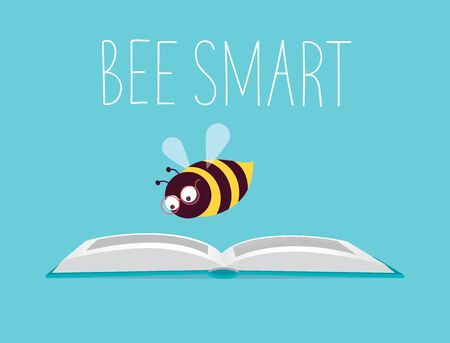 Vector illustration. Honeybee with eyeglasses flying over an open book and reading it. Text 'Bee Smart'. Turquoise background, horizontal format. Ilustrace