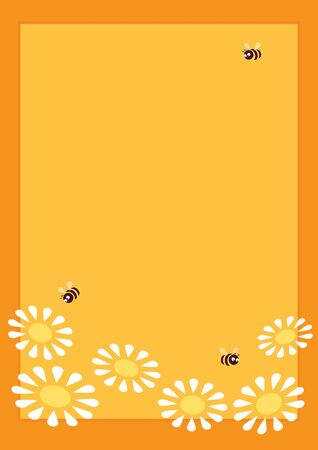 Vector yellow background. Vertical format A4. Honey bees flying over white daisies. Orange frame. Place for text.