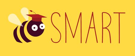 Vector illustration. Rebus depicting phrase 'Be Smart' with a bee instead of the first word. The insect is wearing a square academic cap. Horizontal web banner format. Yellow background. Ilustrace