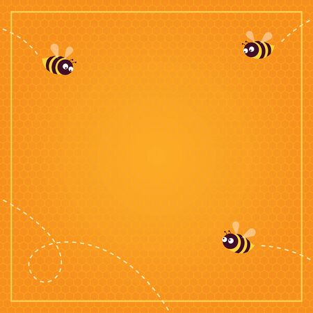 Vector illustration. Honeycomb pattern background and three flying bees. Square format, thin light border. Place for text.