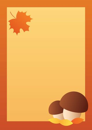 Vector autumn background. Brown frame, two boletus mushrooms, orange maple leaf. Format A4 vertical. Place for text. 向量圖像