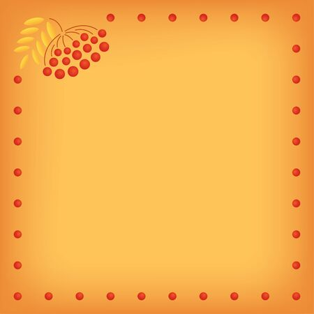 Vector yellow orange background with a frame made of rowan berries. Square format. Place for text. Vibrant colors.