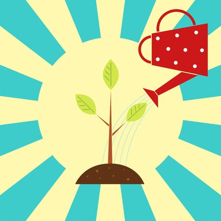 Vector retro styled illustration. Red watering can pouring water on a tree seedling. Turquoise background, yellow sun rays. Square format.