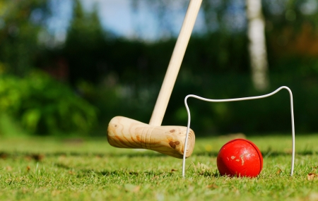 Croquet in de tuin Stockfoto