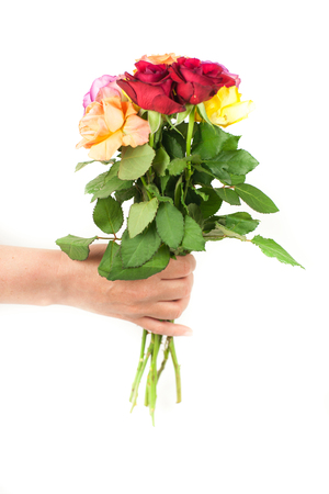 Hand delivering flowers isolated on white Stock Photo