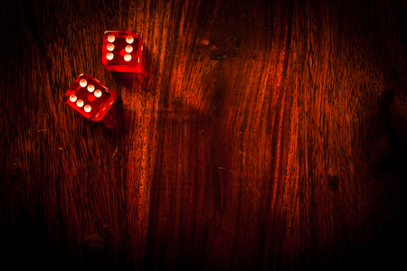 gambling parlour: Two red dices showing a pair of sixes Stock Photo