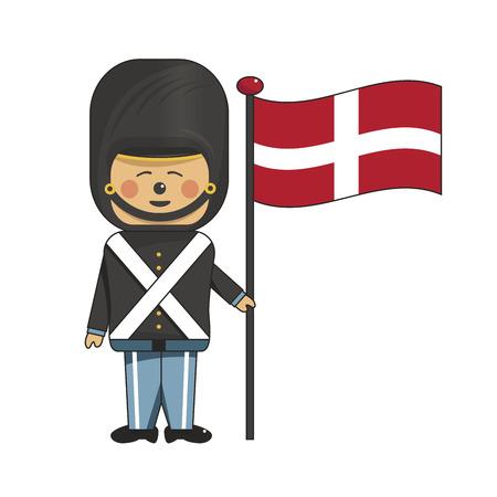 Happy soldier in black uniform holding the danish flag Illustration