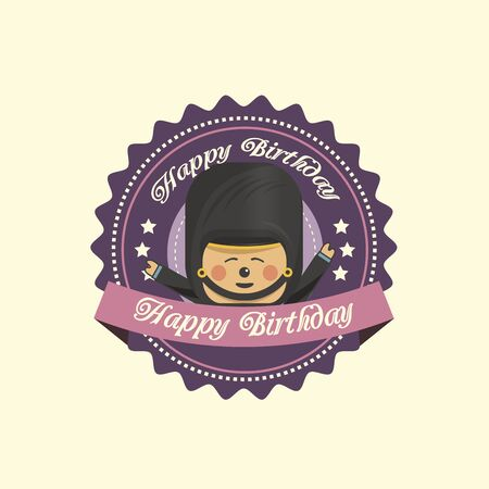 Vintage birthday label with a soldier Illustration