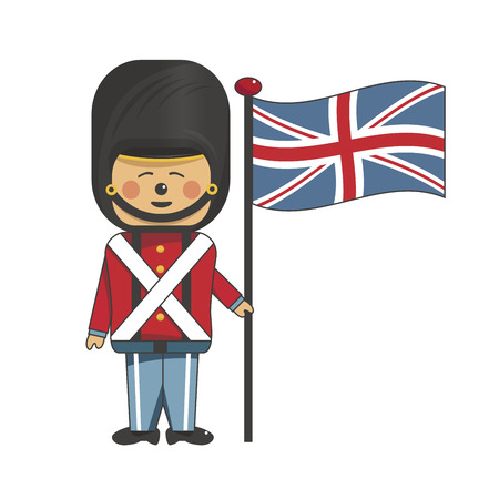 Happy soldier in red uniform holding the british flag Vector