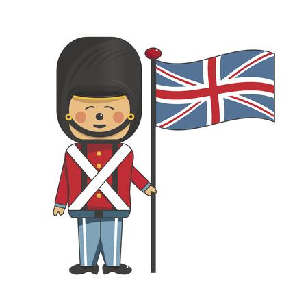 Soldat heureux en uniforme rouge tenant le drapeau britannique