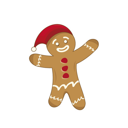 Illustration of a happy xmas gingerbread man