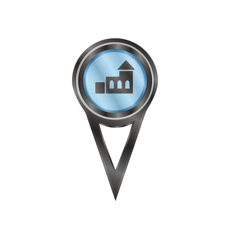 Black pin sign with an icon of a church Vector