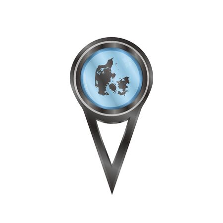 Black pin sign with an icon map of Denmark Vector