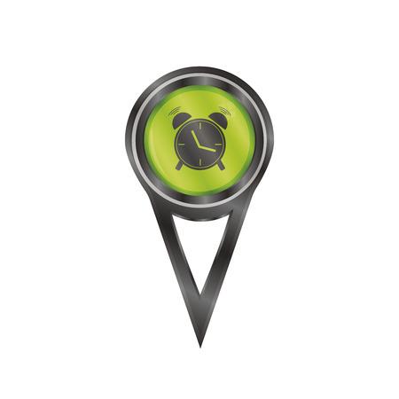 Signe de pin noir avec une ic�ne d'une horloge d'alarme Illustration